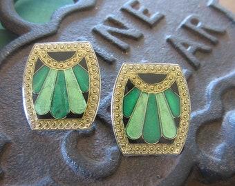Vintage Art Deco Style Enamel Earrings in Shades of Green & Black Pierced Costume Jewelry Earrings