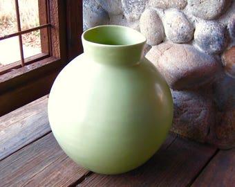 Large Vintage Pottery Vase, Spring Green, Mid Century, Cottage Chic