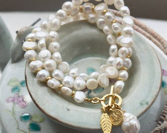 White pearl necklace or bracelet, Freshwater pearl pendant necklace with toggle clasp