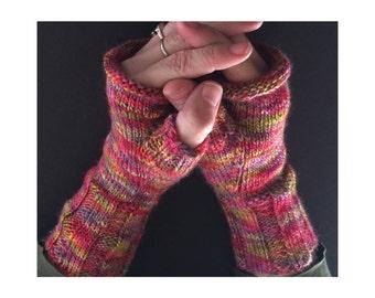 Fingerless Gloves - Hand-Knit Gloves - Women's Fingerless Gloves - Half Gloves  - Bright Multicolor - Women's Winter Gloves