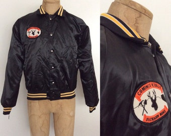 """1980's Black Satin Jacket with """"Cominco Metals, Buckhorn Mine"""" Size Large by Maeberry Vintage"""
