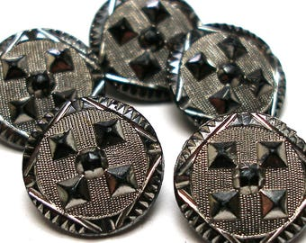 "1800s Lacy glass BUTTONS, 5 Victorian black glass withgeometric design & silver luster. Imitation fabric design, 1/2""."