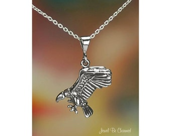 "Sterling Silver Vulture Necklace with 16-24"" Chain or Pendant Only 925"