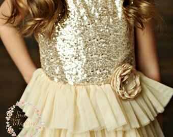 Girls Gold Tulle Dress
