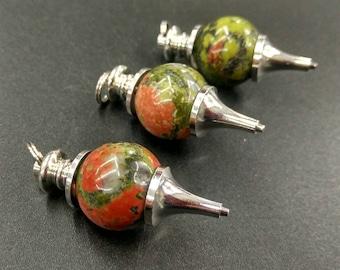 HOT NEW 10pcs/lot -Natural Red Green Unakite Dowsing Pendulum,Green Stone Chakra Pendulum,18mm round ball healing chakra pendulum