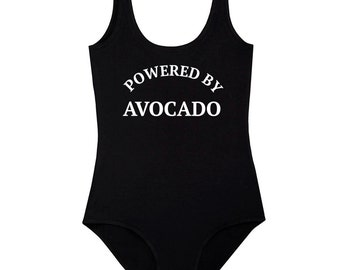 Powered By Avocado Bodysuit Leotard Top Womens Ladies Girls Tumblr Hipster Grunge Retro Vtg Boho Festival Swag Summer Vegan Kale Vegetarian