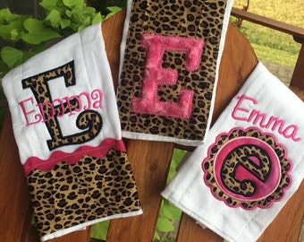 Hot Pink and leopard burp cloth gift set, pink and leopard, burp cloth set, baby gift