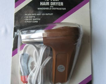 Vintage 12 Volt Hair Dryer Windshield Defroster Prime Products New in Package Travel Car RV Camping
