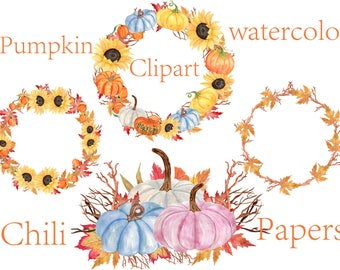 Watercolor Pumpkin Wreaths Clipart,Thanksgiving Clipart,Autumn Clipart,Halloween clipart,Autumn wreaths,Watercolor sunflowers,Autumn frames
