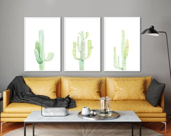 Cactus wall art, large wall art, cactus print set, watercolor print, green painting, botanical watercolor, botanical art print, cactus print