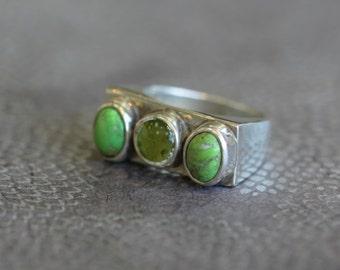 Antique Silver Ring, Jasper Ring, Green Jasper Ring, Sterling Silver Jewelry