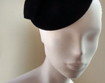 Cocktail Hat Fascinator Black Velour Weddings Formal