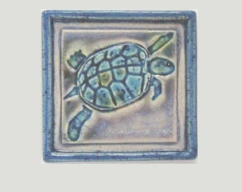 Blue Turtle MUD Pi Decorative Handmade 4x4 Ceramic Tile
