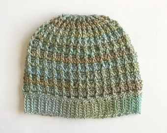 Messy Bun Hat - Light Green/Beige/Gray