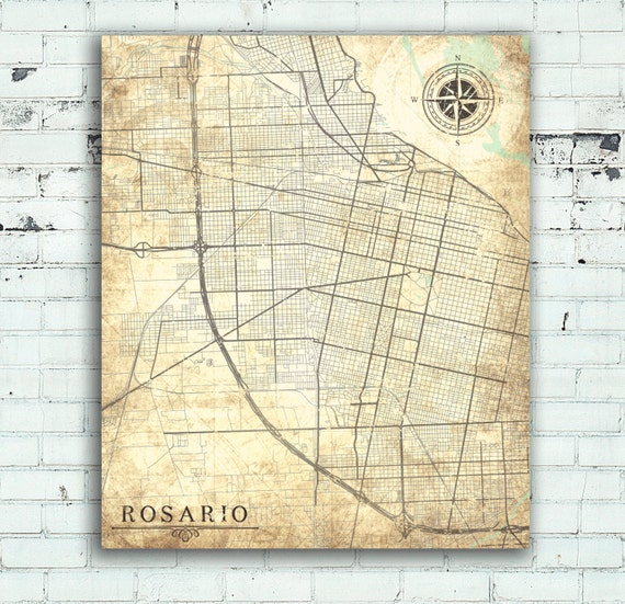 ROSARIO Canvas Print Argentina Vintage map Rosario City