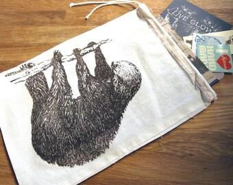 """GIFT BAG / 8x11"""" SLOTH - Hand Printed Drawstring Reusable Cotton Bag"""