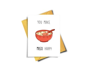You Make Miso Happy Funny Card For Boyfriend, Boyfriend Birthday Card, I Love You Card, Card For Girlfriend, Sushi Lover Gift, Card For Him