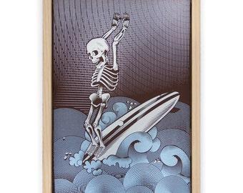 Surf Print - Skeleton Surfing Hand Screen Printed on Canvas and Framed - Artwork Skeleton Print