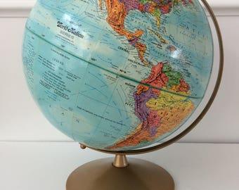 "vintage Replogle 12"" world globe"