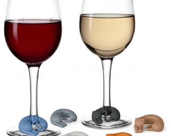 6 pcs Cat Wine Charms