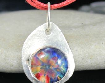 Glass & Sterling Silver Pendant - Rainbow Lampwork Cabochon - Handcrafted Jewelry
