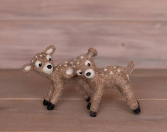 Mini Felted Deer Doe Fawn Baby Newborn Photography Prop Orange