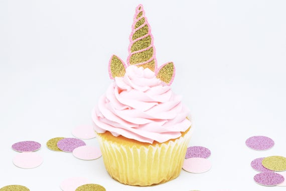 Unicorn Horn + Ears Cupcake Toppers - Gold + Pink Glitter - First Birthday Decor. Unicorn Party Decor. Birthday. Birthday Party Decor.