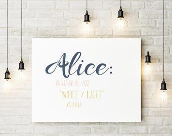 Personalised Art Print - Personalised Wall Art - Name Meaning - Meaning of Name - Name Meaning Print - Name Meaning Wall Art - Name Picture