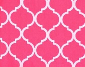 Quatrefoil Fabric ~ Shocking Pink Quatrefoil ~ Hot Pink Quatrefoil ~ Fabric By The Yard ~ Moroccan or Geometric Style Fabric