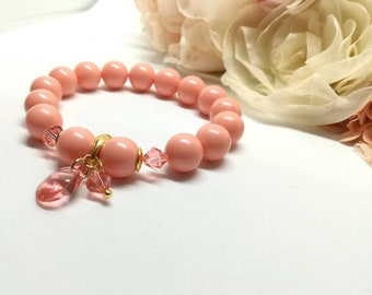 Swarovski crystal pearls beaded bracelet Peach Rose charm pendant 24K gold plated Sterling silver everyday jewelry gift for women Pink Coral