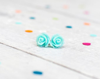 Mint Green Earrings | Floral Rose Earrings | Pastel Flower Jewellery | Candy Coloured Jewellery