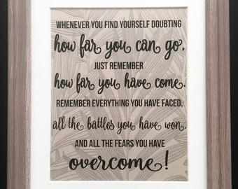 Inspirational Quote - How Far You Can Go Remember How Far You Have Come - Wall Art Decor - Graduation Gift - Eco - Recycled - Typography
