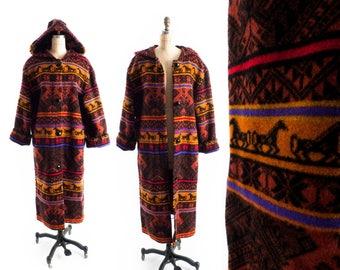 FREE U.S. SHIP - Vintage Blanket Coat // Hooded Blanket Coat // Long Duster Coat // Full Length Coat // Wool Coat // Tribal Coat - sz M