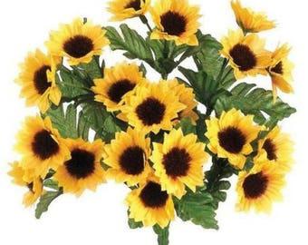 """Mini Silk Sunflower Bush in Yellow Gold - 10.25"""" Tall, Mini silk sunflower bush in yellow gold."""