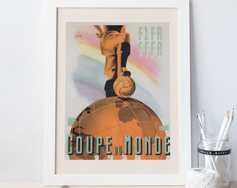 1938 France WORLD CUP Poster - FIFA World Cup Poster - Soccer Poster Football Poster High Quality Reproduction Paris World Cup Print