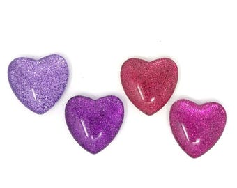"""Glitter Magnets // Set of 4 - 1"""" Heart-shaped Glass Magnets // Pink and Purple // Organization // Heart Magnets// Valentine's Day"""