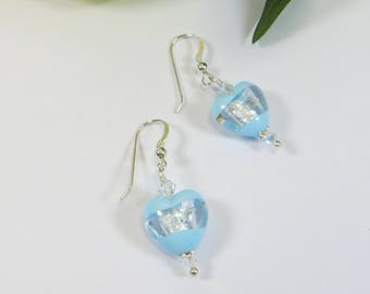 Murano Soft Blue Silverfoil Windows Heart Earrings, Murano Venetian Light Blue Silverfoil Heart Earrings with Sterling Silver & Swarovski