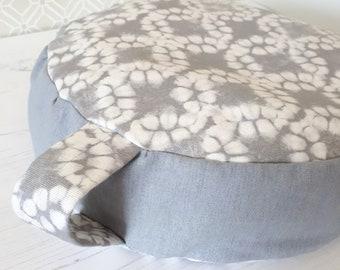 Get comfy.... Grey Batik Organic Buckwheat Meditation Cushions