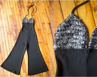 Vintage 1970s Sequin Halter Jumpsuit - Cropped or Petite - Size XS