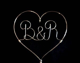 Heart Cake Topper - Wedding Cake Topper Wire Love - Gold Cake topper - Silver Cake Topper