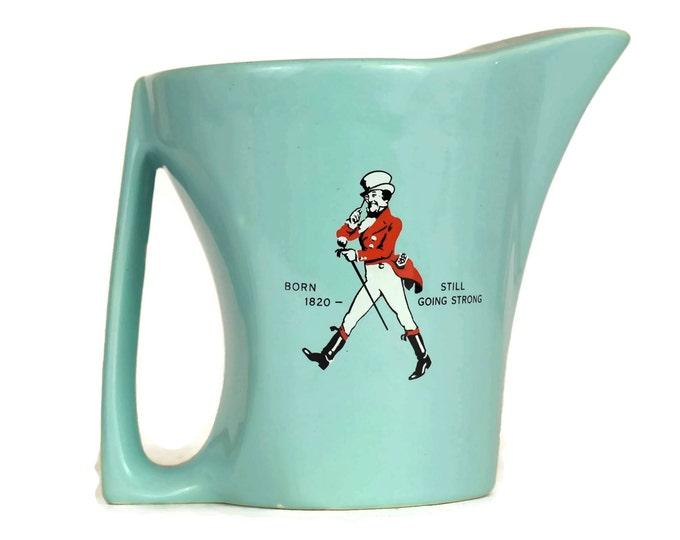 Vintage Johnnie Walker Whiskey Pitcher. Wade Regicor Ceramic. Mid Century Blue Ceramic Jug. Retro Barware and Bar Decor. Boyfriend Gift.