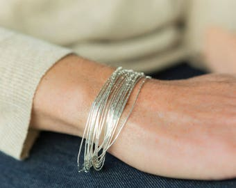 Delicate Bracelet Silver Bracelet Gift For Her Layering Bracelet Silver Jewellery Multi Strand Silver Bangle Silver jewelry