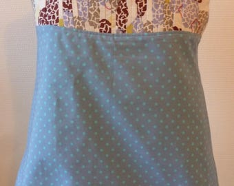 Top pleated and flared with flowers and dots fabric