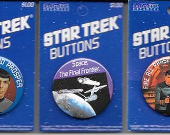 Star Trek Buttons-Mint on Card-Original Series-Collectible