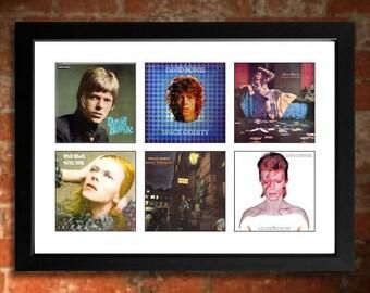 DAVID BOWIE Vinyl Albums Limited Edition Art Print Ziggy Stardust, Hunky Dory, Aladdin Sane etc