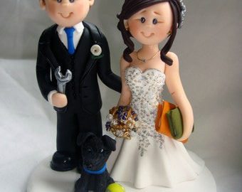 Personalised Librarian Bride & Mechanic Groom wedding cake topper - Engineer and Librarian  wedding cake topper