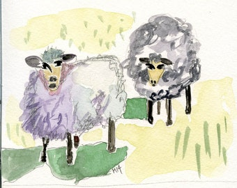 Original  watercolour painting / MYRTLE & MAUDE //   ooak  meadow  two sheep  watching