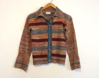 Vintage 70s Space Dye Spacedye Sweater / Hippie Cardigan Toggle Sweater / Blue Red Bohemian Sweater