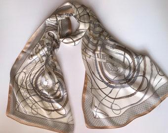 Beige silk scarf. Designer white shawl.