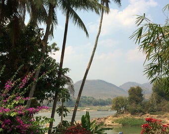 Luang Prabang Palmtrees· Photoprint · Mekong · Palmtrees · Sky · 30cm x 45cm · Print · River · Wallart · Photography · Poster · Flowers